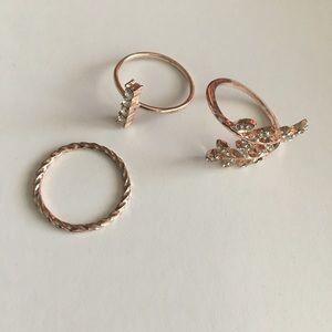 Golden Gem Ring Set